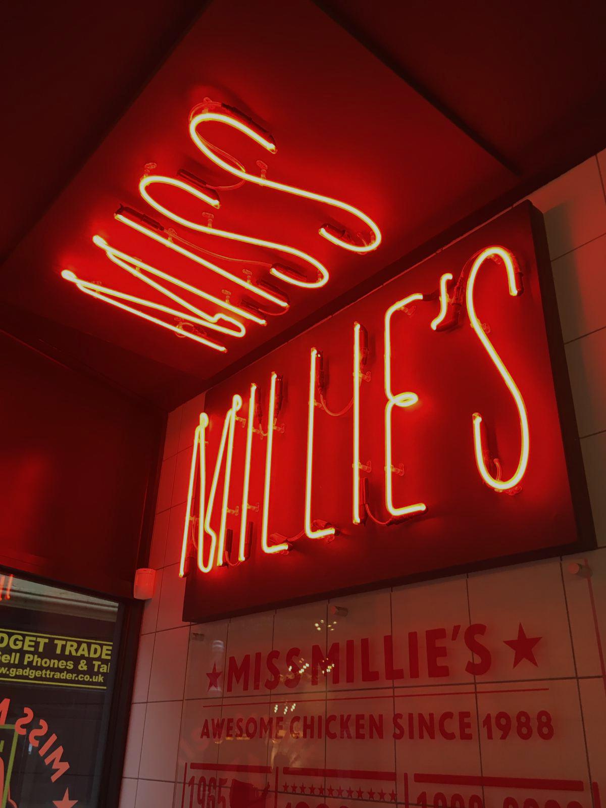 millies weston neon sign